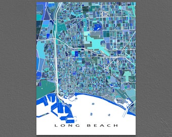 Long Beach Map Art Print, Long Beach California, West Coast City Maps