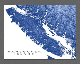 Vancouver Island Print, Vancouver Island Map Art, BC Canada, Victoria