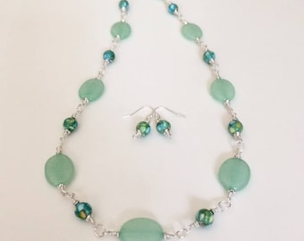 Green Stone Beaded Necklace Set Mint Green Gemstone Necklace Earrings Green Necklace Statement Necklace Womens Gift Wife Birthday Gift Her
