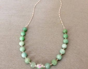 Amazonite Necklace Mint Green Amazonite Necklace Amazonite Bead Necklace Green Ombre Necklace Stone Necklace Bridesmaid Gift For Her For Mom