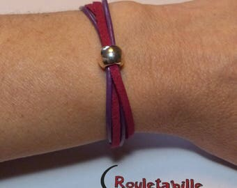 """Bracelet """"Bead"""", purple and Burgundy leather and suede"""