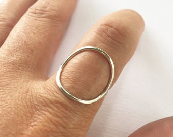 Sterling Silver Ring, Silver Ring, Circle Ring, Large Circle Ring, Hammered Ring, Simple Ring, Geometric Ring, Open Circle Ring, Gold Filled