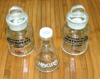 Vintage apothecary jars-old glass apothecary bottle lot-vintage pharmacy bottles-old druggist bottles-pharmicist bottle bundle-chemistry lab