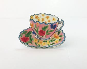 Floral Vintage Style Tea Cup and Saucer Brooch