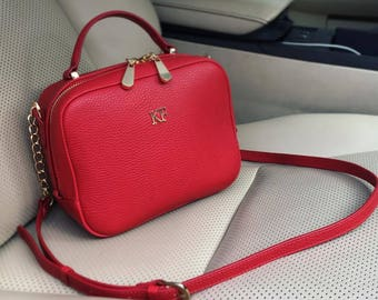 Leather Cross body Bag, Red Leather Shoulder Bag, Women's Leather Crossbody Bag, Leather bag KF-1350
