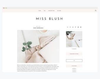 "WordPress Theme- Minimalist Blog Ecommerce Theme- Genesis Theme- WordPress Website- Fashion Blogger Theme- ""Blush"" Instant Download"