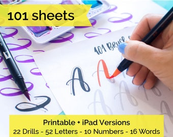 101 worksheets Brush Lettering Calligraphy Practice drills, alphabet, numbers + words with this printable workbook. iPad procreate