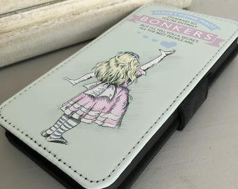 Alice in Wonderland iPhone Samsung Leather Wallet Flip Case Cover Alice Bonkers Hearts Pastel colours