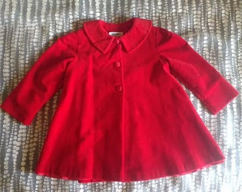 Toddler Coat - Red Winter Jacket - Vintage Swing Coat - 100% Cotton - Peter Pan Collar - Sylvia Whyte for Jacobson's - EVC - Size 3T