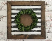 monogram sign, boxwood wreath, boxwood wreath sign, boxwood sign, monogram wreath, monogram wreath sign, black brushstroke stripe