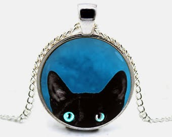 Black Cat Necklace Black Cat Pendant Peeking Cat Necklace Cat Jewelry (with jewelry box)