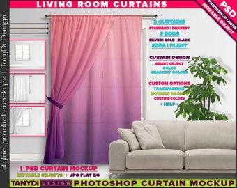 Long Curtain Drapery on Living room Window   Photoshop Mockup LC-M1-2   Window area Sofa Plant   Smart Object Custom colors