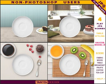 White Saucer Plate | Table Styled JPG Scenes S2-C1 | Non-Photoshop | Fabric Wood Table | Breakfast Fruits Cutlery | Coffee Tea Cup