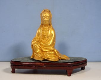 Vintage ceramic statue Kwan Yin Goddess of Mercy stand c.1960s unused