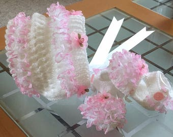 Baby Knitting Patterns - Hot Pink Sundae Bonnet and Shoes 0-6mths