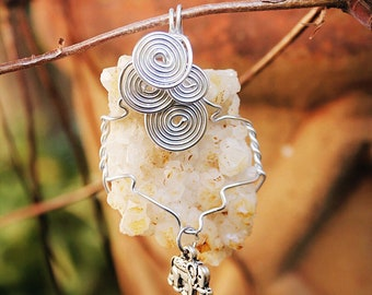 Citrine Cluster Wire Wrapped Pendant (No Cord)