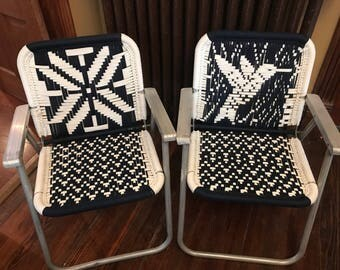 2 Vintage Macrame Folding Chairs/Vintage Woven Chairs/Vintage Patio Chairs