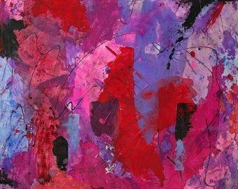 Large Abstract Acrylic Painting Red Pink Black Purple Lavender Blue  Fine Modern Art Award Winning
