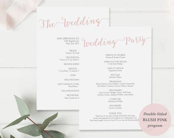 Blush Wedding Program Printable - DIY Template - Wedding Ceremony - Blush Pink Program - Instant Download - Double Sided 5x7 inches- #GD1103