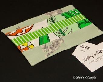 Bunnies credit card wallet - Rabbits Business card holder - Handmade Credit card organiser - Business card pocket wallet - Card holder.
