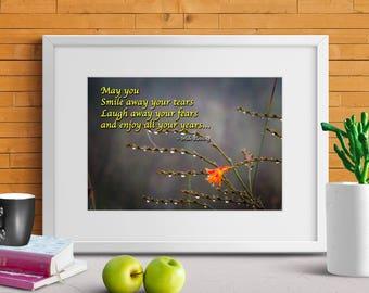 "Ireland Poster ""May You Smile Away Your Tears - Irish Blessing"" Ireland Print, Ireland Art, Irish Landscape, Irish Blessing"