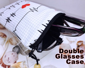 Nurses Double Glasses Case, EMT Zip Top Double Glasses Pouch Sunglasses Pouch, Eyeglasses Zipper Case, Soft Glasses Case