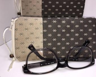 Men's Eyeglass Case, Brown Eyeglasses Case for Men, Zipper Glasses Case, Case For Glasses, Masculine Glasses Case, Fabric Glasses Case
