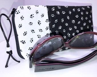 Paw Prints Glasses Case, Eyeglass Case, Sunglass Pouch, Minimalist Glasses Case, Sunglasses Case, Eyeglasses Case, Soft Glasses Case