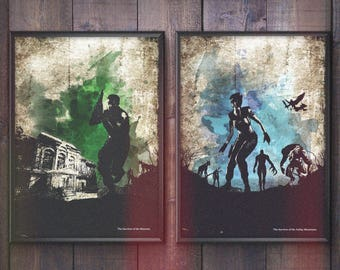 SURVIVAL HORROR. Survivor of the Mansion/Mountains Minimalist Poster Prints.