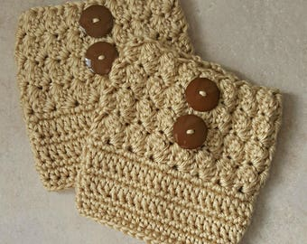 Women's Boot Cuffs - Beige - Crochet Boot Cuffs - Medium - Large - Plus Size