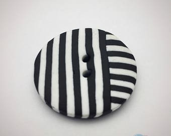 Button black and white Polymer Clay