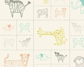 SALE!! 1 Panel Critters Galore Animal Panel Savannah by Gingiber for Moda- 6 Different Animals- 48221-11 Mulri Colored