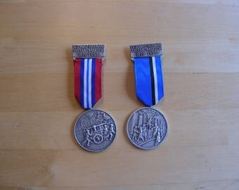 Vintage Swiss sport medals, fireman competition medals, 1978, 1979 Lyss