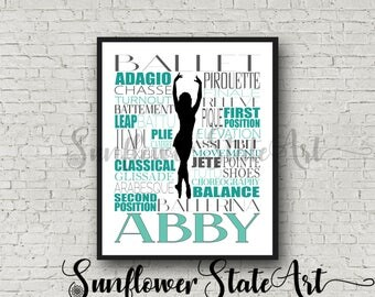 Personalized Ballet Poster Typography, Ballet Gift, Gift for Ballet Dancers, Ballet Art, Ballet Print, Dancer Gift, Dancer, Dance Team Gift