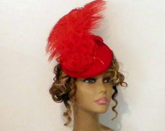 Red Hat Fascinator Victorian Retro Vintage Style Gothic Steampunk Lolita Bridal Headpiece Old West  Marie Antoinette