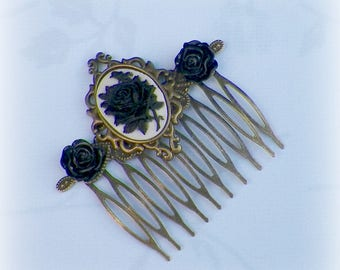 Gothic Black Cameo Vintage Style Hair Comb Bridal Victorian Rose Gyspy Boho  Steampunk Wedding Gothic Bohemian