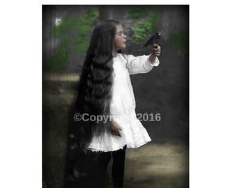 On Sale- Instant Download Girl Child Bird Gothic Victorian Portrait Vintage Victorian Altered Digital Art Collage Child Printable Image Digi