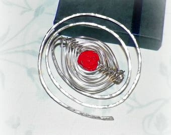 Spiral Shawl Pin Silver Red Rose Brooch Beaded Vintage Hammered  Style Scarf Pin  Pin Outlander
