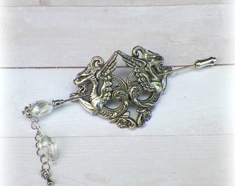 Dragon Shawl Pin Silver Brooch Hair Slide Fantasy Medieval Gothic Mother LARP Daenerys Style Scarf Pin Filigree Antique Victorian Vintage