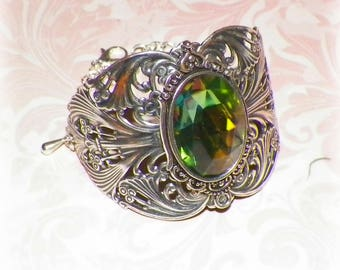 Silver Bracelet Cuff Green Goth Wide Victorian Vintage Sterling Statement Pastel Style Steampunk Cosplay Costume Gothic Antique Style