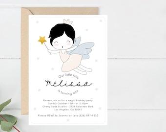 Party Invite, First Birthday Invitation, Kids & Babies Printable Invite, Fairy Party Invite, Modern Birthday Invite printable (B9.Bday)