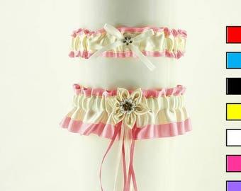Wedding garter set, bridal garter set, ivory pink wedding bridal garters, wedding lingerie, handmade ivory bridal satin garter 0165B