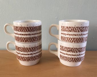 Stunning 1970s Biltons Tableware from Staffordshire England set of 4 creamy white mugs with speckled geometric brown design for Mod kitchen!