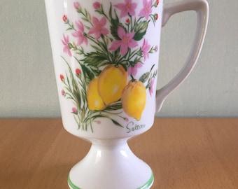 Darling Flowering Fruit ceramic pedestal mug by Saltera of Japan adorned with lemons & pink / green flowers for tropical Old Florida home!