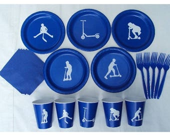 Scooter Party Tableware Set for 5 People - Boys or Girls