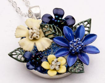 OOAK flower pendant necklace, hand painted brass flowers, blue yellow, 20 inch (50.8cm) silver tone chain
