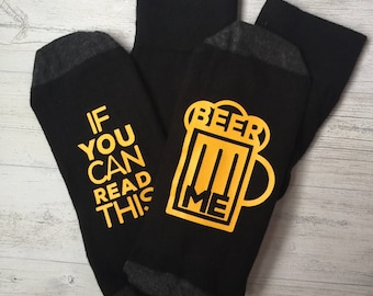 Beer socks | Mens Socks | Funny Socks | If you can read this, Beer Me | Gift for him | gift for dad | Beer gift | Beer Gifts for him |