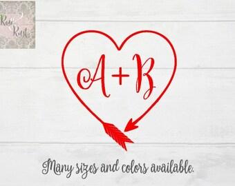 Wedding Monogram, Couple Monogram, Romantic Monogram, Heart Monogram Decal, Boho Initial Decal, Boho Monogram, Custom Monogram, Heart Arrow