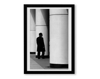 Black and white photography Print, London, London print, black and white Print, London art, street photography, wall art, Bowler hat art