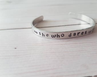 Hand Stamped Cuff Bracelet, Motivation, Believe in Myself Bracelet, She Who Dares Wins, Self Confidence, Personalized Cuff, Strong Woman